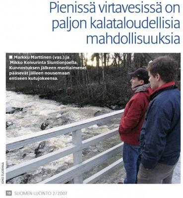 Markku Marttinen ja Anssi Koivurinta Siuntionjoella. Kuva © Ismo Tuormaa